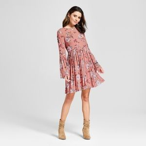 Floral print bell sleeves vintage dress small